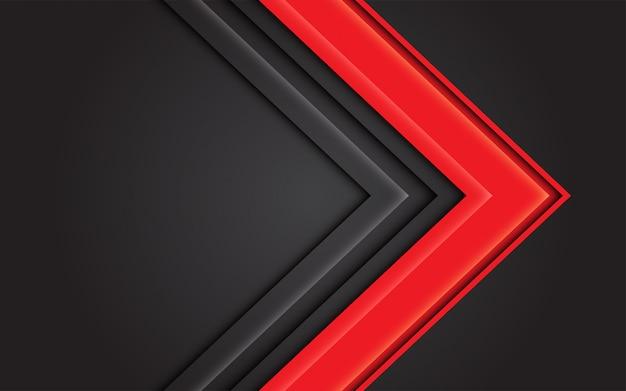 Abstrakte pfeilrichtung des roten lichtes auf dunkelgrauen modernen futuristischen hintergrund. Premium Vektoren