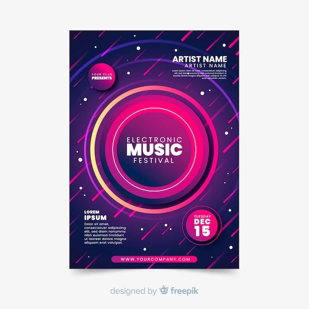 Abstrakte plakatschablone der elektronischen musik Kostenlosen Vektoren