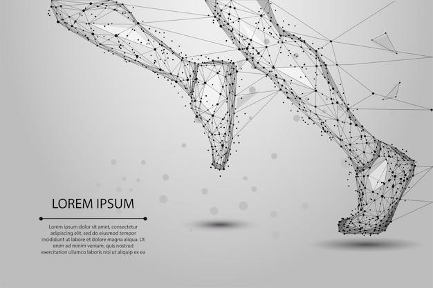 Abstrakte polygonale laufende beine von den linien, von den dreiecken und vom partikel. low poly drahtmodell abbildung. Premium Vektoren