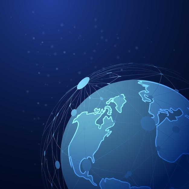 Abstrakte punktierte linie masche über hintergrund des globalen planeten Premium Vektoren