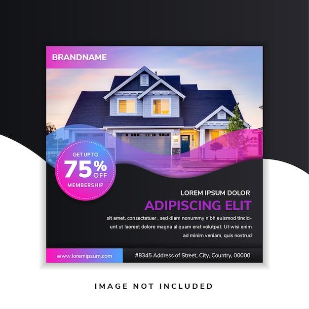 Abstrakte quadratische immobilien-banner-design-vorlage Premium Vektoren