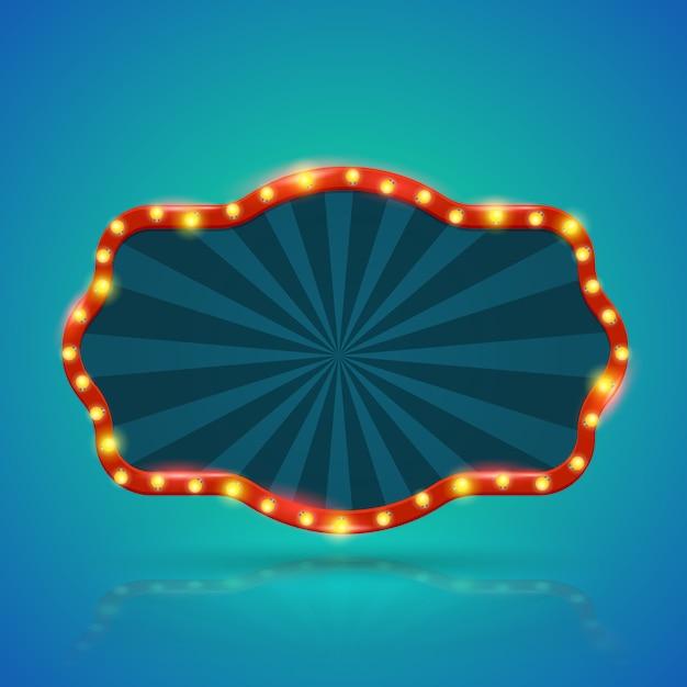 Abstrakte retro- helle fahne mit glühlampen auf der kontur Premium Vektoren