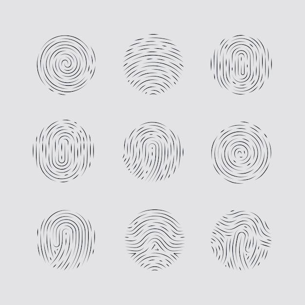 Abstrakte runde fingerabdruckmuster detailliert Premium Vektoren
