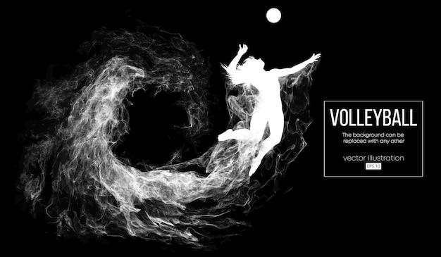 Abstrakte schattenbild einer volleyballspielerinfrauenillustration Premium Vektoren