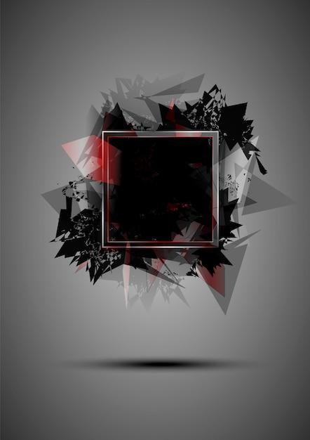 Abstrakte schwarze explosion von dreiecken mit einem rahmen Premium Vektoren