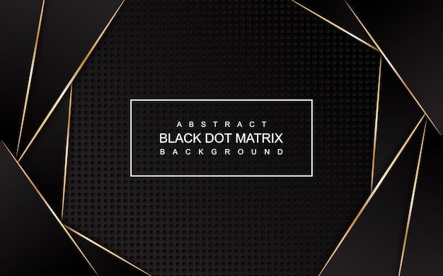 Abstrakte schwarze punktmatrix mit gold zeichnet hintergrund Premium Vektoren