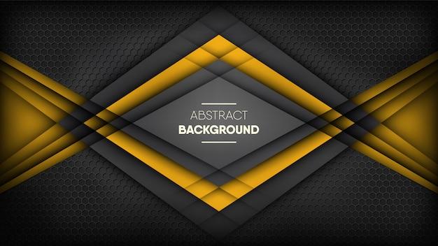 Abstrakte schwarze und gelbe streifen auf metallischem schwarzem bienenwabenhintergrund. Premium Vektoren
