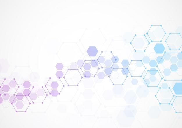 Abstrakte sechseckige molekulare strukturen in der technologie Premium Vektoren