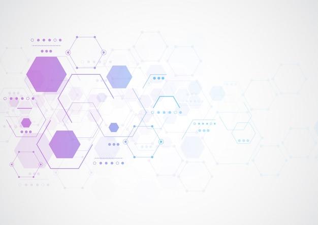 Abstrakte sechseckige molekulare strukturen Premium Vektoren
