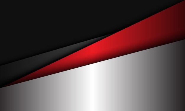 Abstrakte silberrote graue metallische geometrische überlappungsmoderne futuristische hintergrundillustration. Premium Vektoren