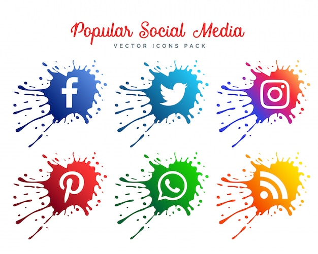 Abstrakte social media icons Kostenlosen Vektoren