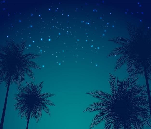 Abstrakte sommer-natürliche palmen-hintergrund-vektor-illustration Premium Vektoren