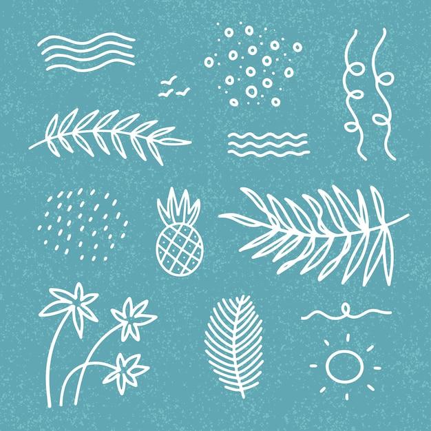 Abstrakte sommerdekorelemente gesetzt mit wellen, palmblättern, punkten für t-shirts, drucke, postkarten. hand gezeichnetes lineares design im gekritzelstil auf blauem strukturiertem hintergrund. Premium Vektoren