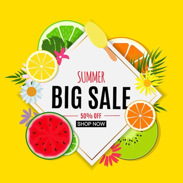 Abstrakte sommerschlussverkauffahne mit frischen früchten. vektor-illustration Premium Vektoren