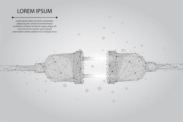 Abstrakte steckdose und punktsteckdose mit stecker. polygonales verbindungs- und trennungskonzept. low poly illustration Premium Vektoren