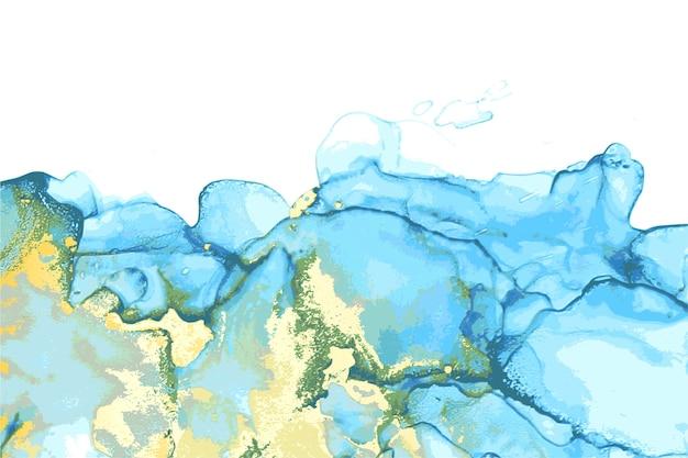 Abstrakte steinmarmorbeschaffenheit der blauen, grünen und goldenen in der alkoholtintentechnik mit glitzer. Premium Vektoren