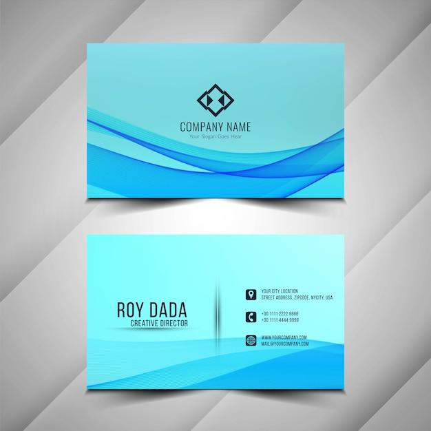 Abstrakte stilvolle blaue wellige visitenkarte Kostenlosen Vektoren
