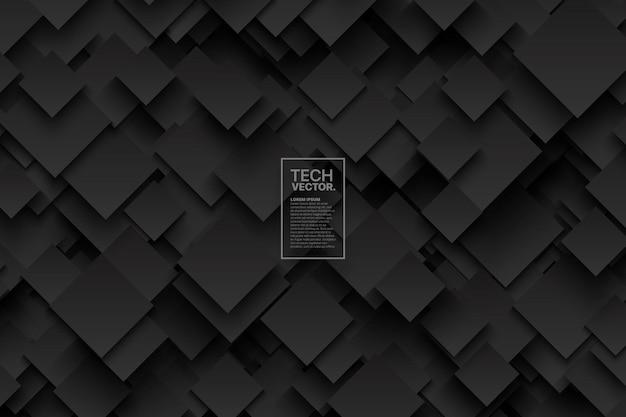 Abstrakte technologie 3d dark grey vector background Premium Vektoren