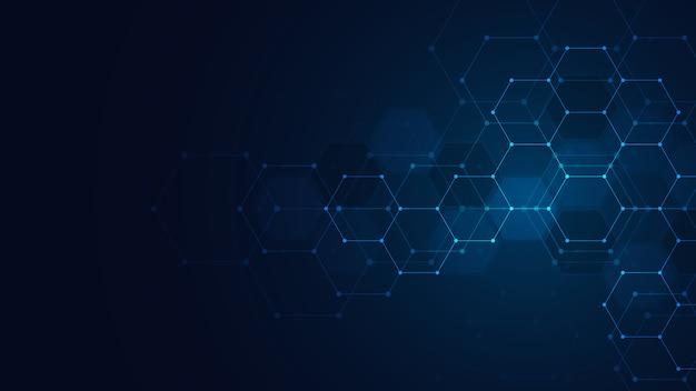 Abstrakte technologie oder medizinischer hintergrund mit sechseckformmuster. konzepte und ideen für gesundheitstechnologie, innovationsmedizin, gesundheit, wissenschaft und forschung. Premium Vektoren