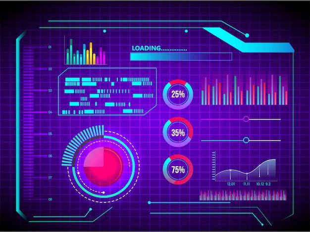 Abstrakte technologie ui futuristische konzept hud schnittstellenhologrammelemente des diagramms der digitalen daten und der kreisprozentvitalitätsinnovation auf purpurrotem hintergrund. Premium Vektoren