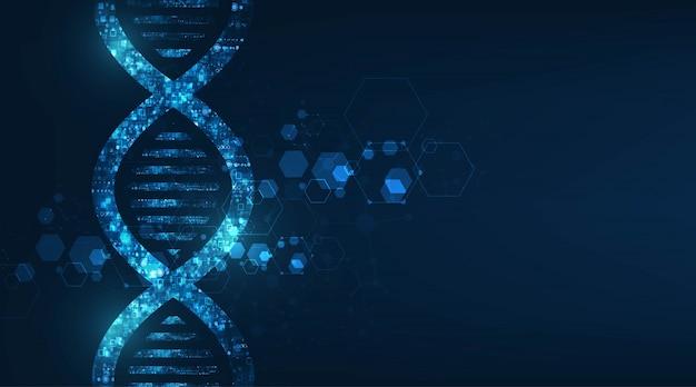 Abstrakte technologie wissenschaft, dna-code-struktur mit glühen. Premium Vektoren