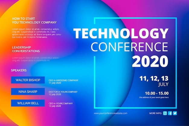 Abstrakte technologiekonferenz vorlage Kostenlosen Vektoren
