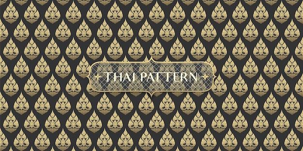 Abstrakte traditionelle hand gezeichnete schwarzweiss-thailändische blumenmusterhintergrund Premium Vektoren