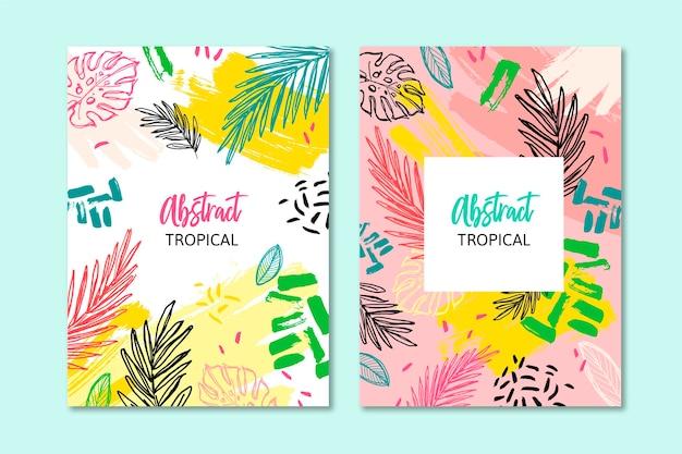 Abstrakte tropische karten Premium Vektoren