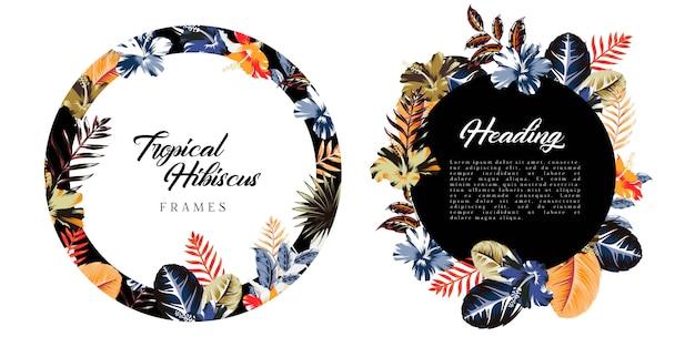 Abstrakte tropische und hibiskus-hintergrundrahmen Premium Vektoren