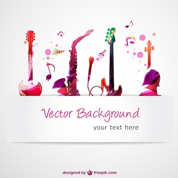 Abstrakte vektor-gitarren-musik Kostenlosen Vektoren