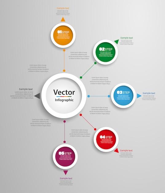 Abstrakte vektor infografiken anzahl optionen vorlage mit 5 schritten Premium Vektoren