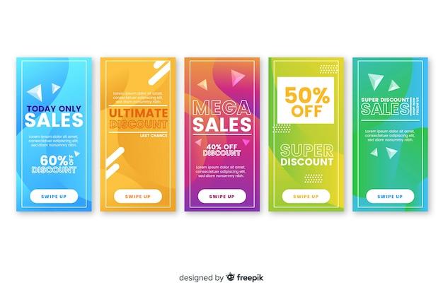 Abstrakte verkaufsinstagram-geschichtenansammlung Kostenlosen Vektoren