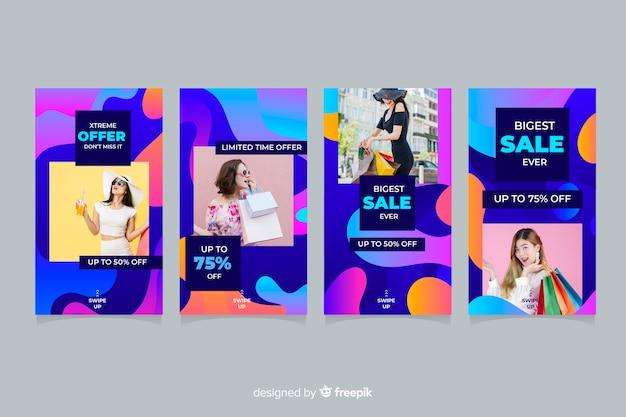 Abstrakte verkaufsinstagramgeschichten mit foto Kostenlosen Vektoren