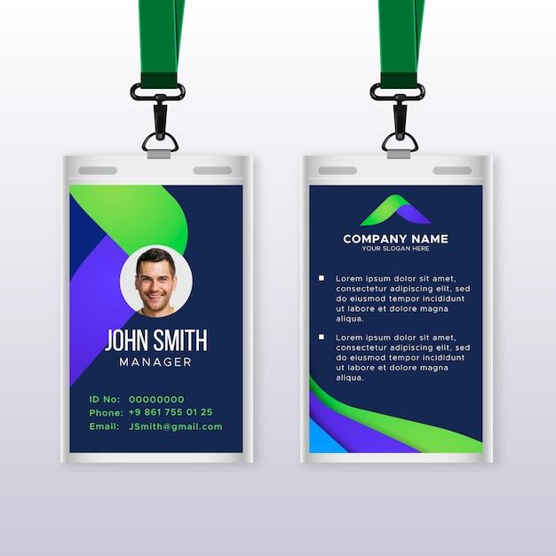 Abstrakte vertikale id-kartenschablone mit foto Kostenlosen Vektoren