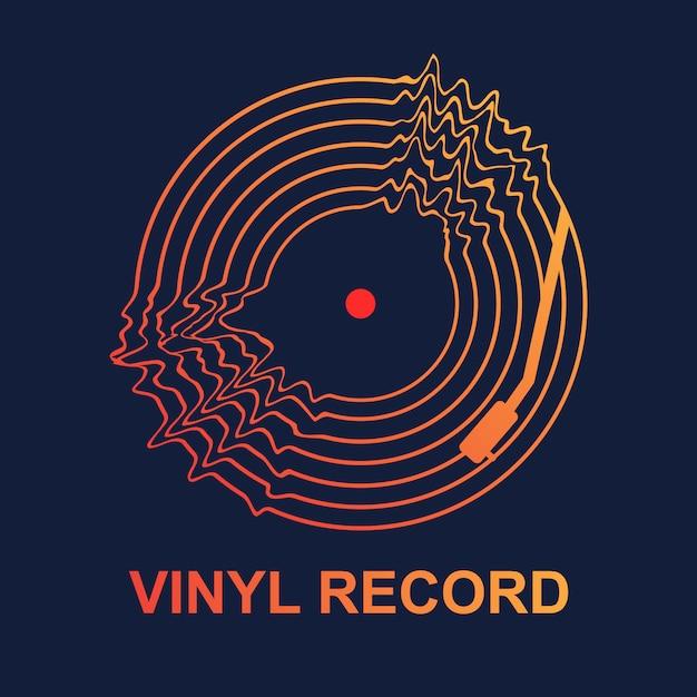 Abstrakte vinylaufzeichnungs-wellenmusik Premium Vektoren