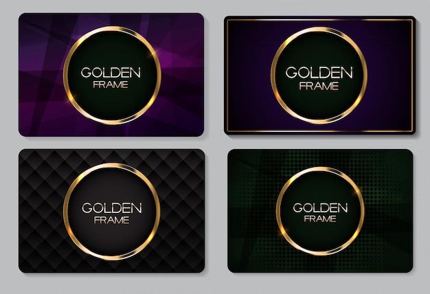 Abstrakte visitenkarte mit goldenem rahmen-sammlungs-satz Premium Vektoren