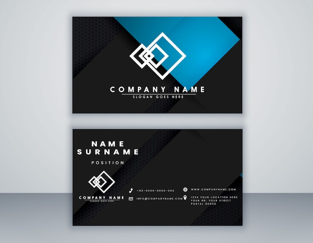 Abstrakte visitenkarte vorlage schwarz und blau farbe minimales design Premium Vektoren