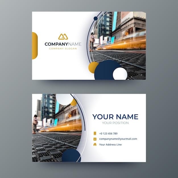 Abstrakte visitenkarteschablone mit foto Premium Vektoren