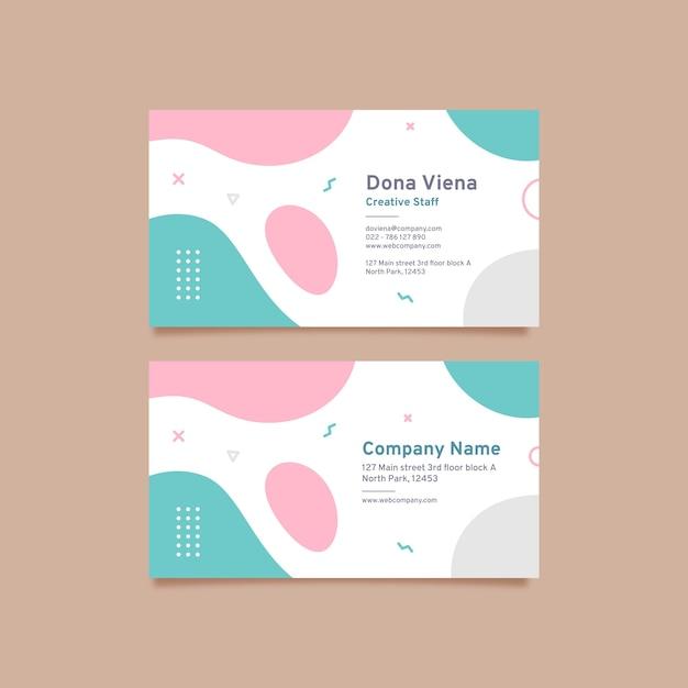 Abstrakte visitenkarteschablone mit pastellfarbenen flecken Kostenlosen Vektoren