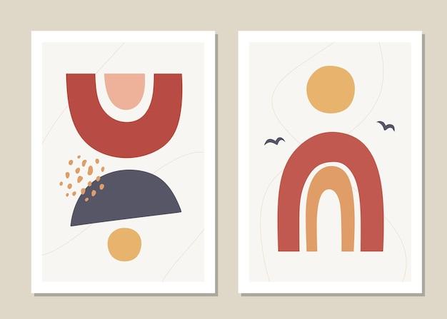 Abstrakte wandkunst gesetzt. abstrakter regenbogen Premium Vektoren