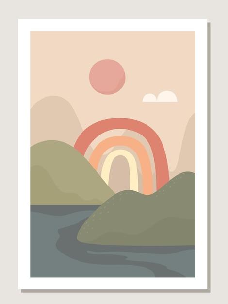 Abstrakte wandkunst mit regenbogen und landschaft. abstrakte regenbogenmuster und -formen für collagen, plakate, abdeckungen, perfekt für wanddekoration. vektor. Premium Vektoren