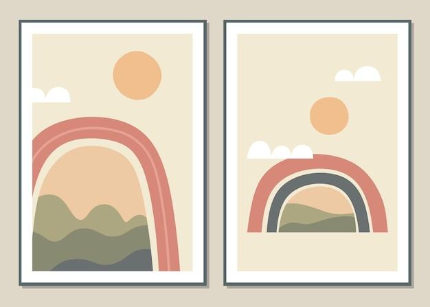 Abstrakte wandkunst mit regenbogen und landschaft. Premium Vektoren