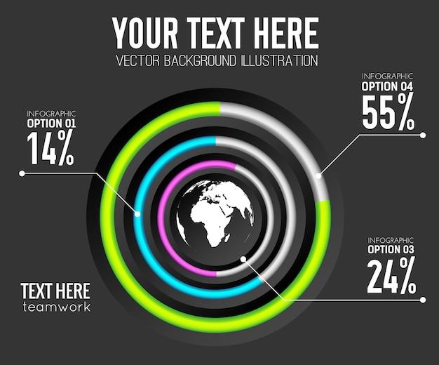 Abstrakte web-infografik-vorlage mit prozentsatz der bunten ringe des kreisdiagramms und weltikone Kostenlosen Vektoren