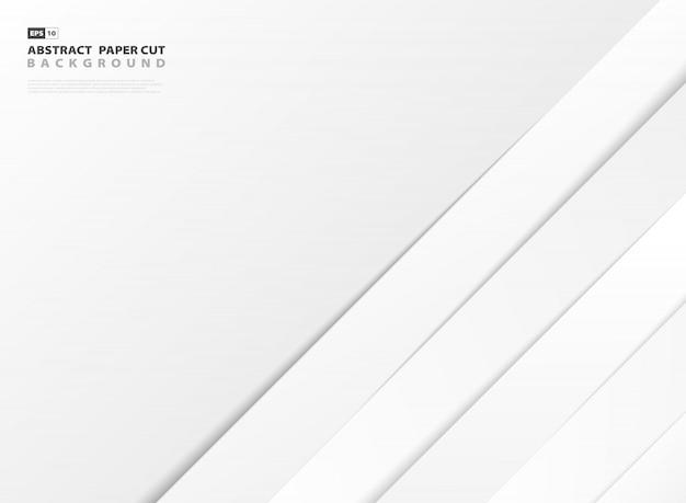 Abstrakte weißbuchschnittlinien der steigung formen musterdesignhintergrund. Premium Vektoren