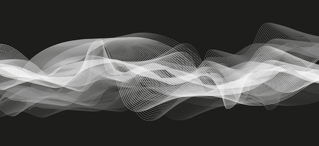 Abstrakte weiße audiowelle auf schwarzem hintergrund Premium Vektoren