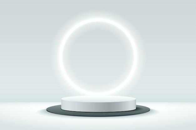 Abstrakte weiße und schwarze runde anzeige für produkt. Premium Vektoren