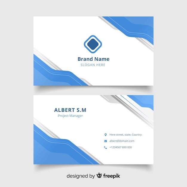 Abstrakte weiße visitenkarte mit logo und blauer formschablone Kostenlosen Vektoren