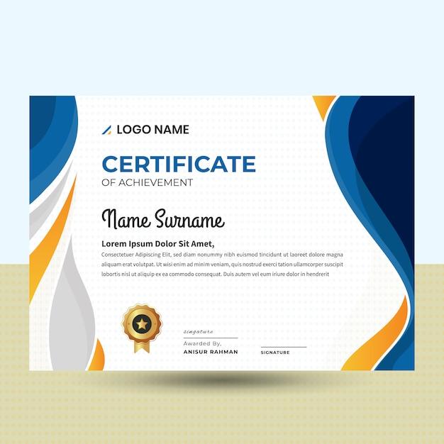 Abstrakte wellenförmige schöne zertifikat-schablone Premium Vektoren