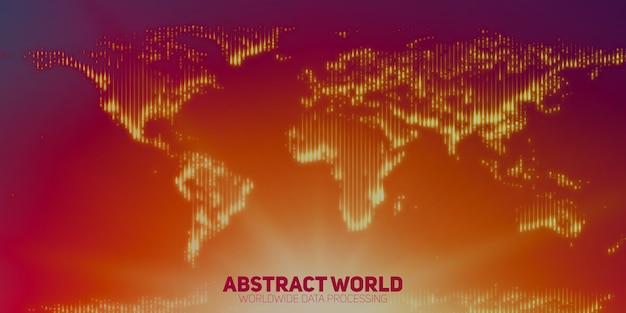 Abstrakte weltkarte aus leuchtenden punkten. kontinente mit einer fackel im boden Kostenlosen Vektoren