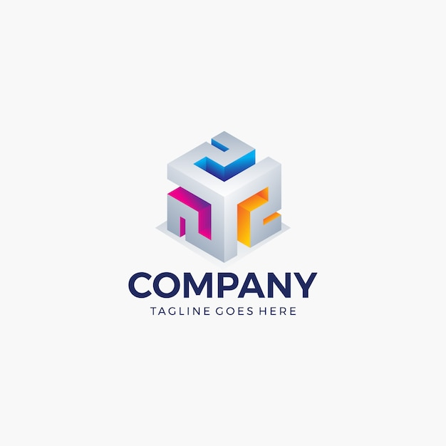 Abstrakte würfelform helle farbe für technologie, geschäft, firma. logo design vorlage. Premium Vektoren